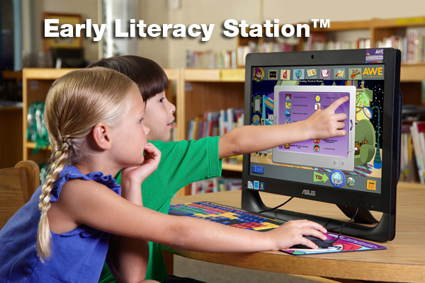 Picture of two children using Early Literacy Station computer.