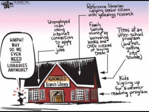 Cartoon of the many uses of the Library.